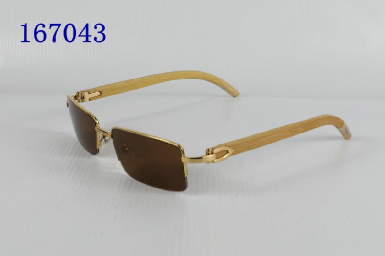 Marka Moda Buffalo Boynuz Adam Retro Ahşap Güneş Gözlüğü Erkek Ve Bayan Siyah Kahverengi Şeffaf Lens Çerçevesiz Spor Tutum Sürüş Cam