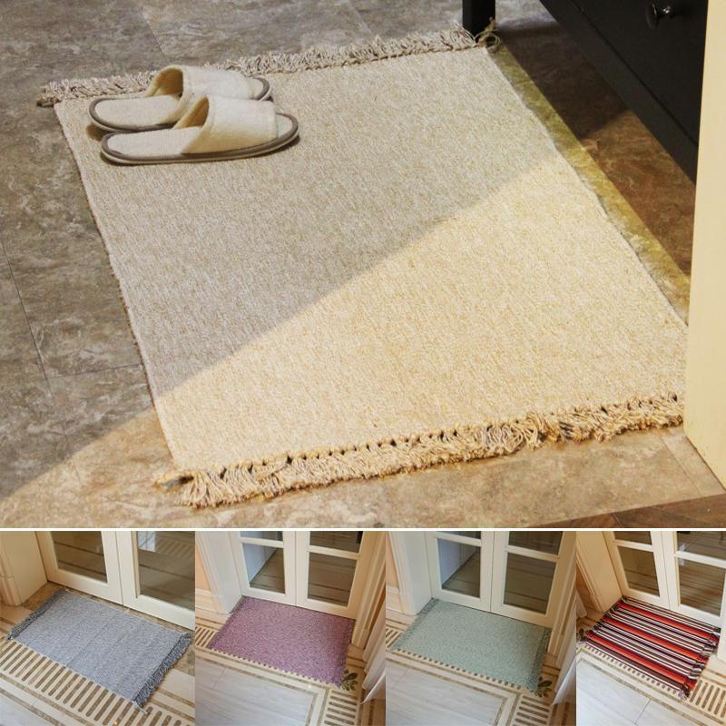 Retro Hand Woven Cotton Linen Carpet Tassel Bedside Rug Geometric Floor Mat Living Rooms Bedroom Home Decor Carpets