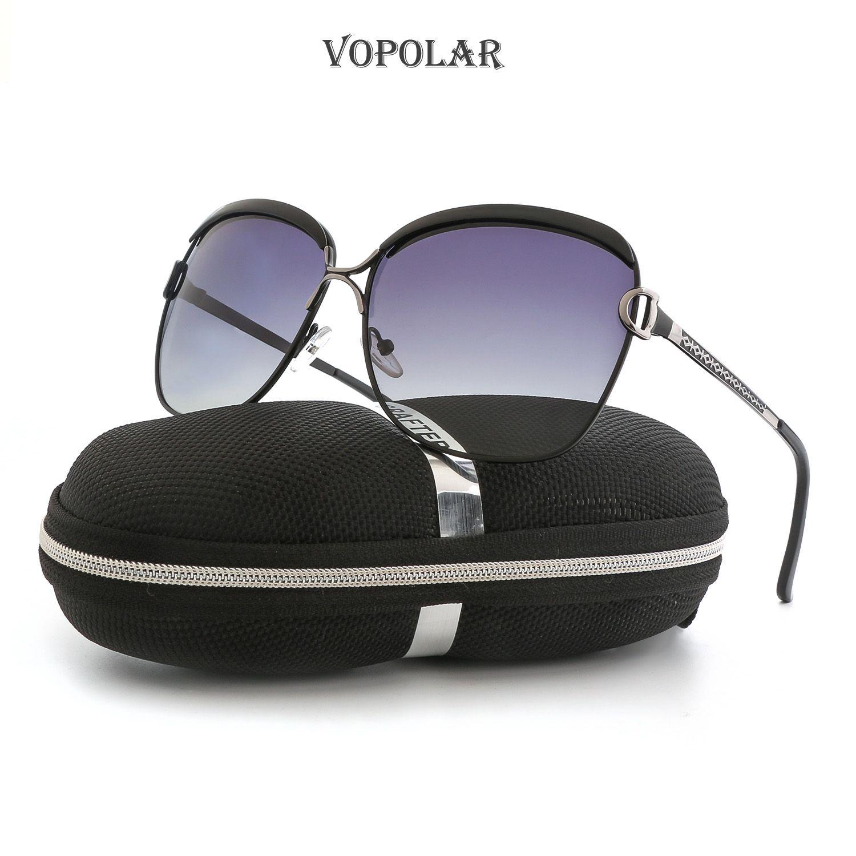 VOPOLAR Cycling Protective Gear Outdoor Eyewear Women Lady Big frame Polarizing Sunglasses Black E016