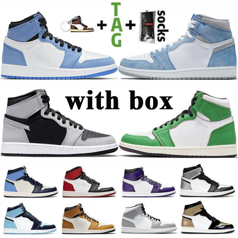 الأحذية Jumpman 1 تكبير المتسابق الأزرق الملكي حجر السج بلا خوف ترافيس سكوتس الرجال لكرة السلة UNC 1S توربو الخضراء شيكاغو رجال الرياضة أولي مع صندوق