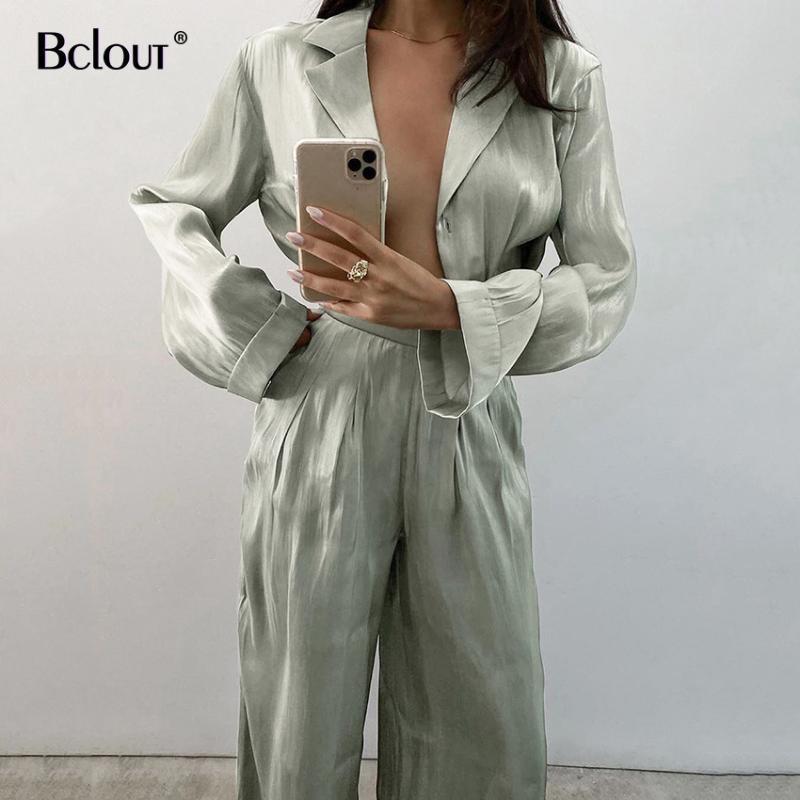 BClout Vintage Vintage Due pezzi Set Donne Autunno di Elegante Donna Manica lunga Top e Pantaloni in vita alta 2 Set Donne femminili Tuta da donna