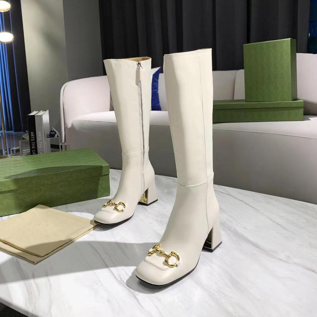 Donne tacco alto ginocchio stivali moda alti di moda tacchi 7.5 5.5 2.5 Stivaletto alla caviglia Top Designer Ladies Platform Genuine Pelle Martin Boty Donna Spessa