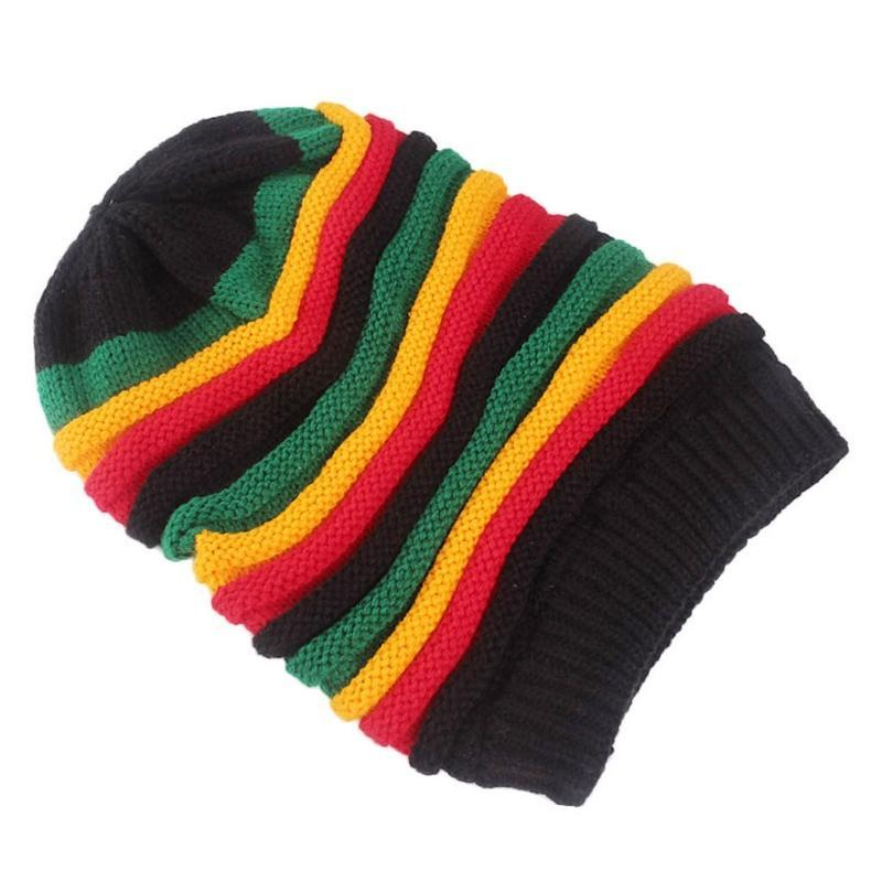 Mujeres hombres unisex arco iris sombrero de rayas invierno cálido colorido colorido huecado goreie goreie / capilla de cráneo