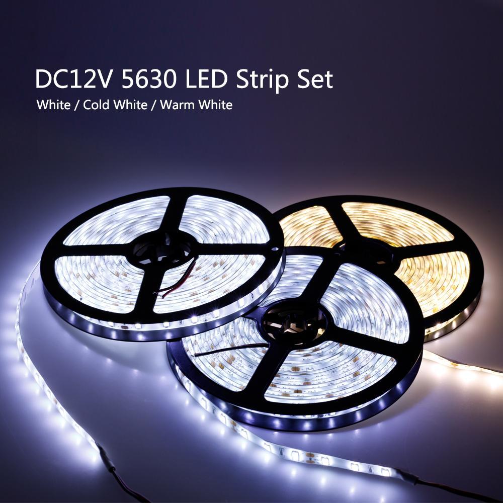 LED 스트립 5630 12V 60 LED / M 따뜻한 화이트 / 화이트 / 차가운 화이트 5M 가정 장식 램프 + DC12V 3A 드라이버