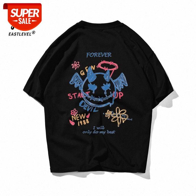 Little Devil Graffiti Maré Marca Branco Algodão Puro T-shirt de Manga Curta T-shirt Homens e Mulheres Verão Solto Coreano Meia-manga Ins Casal Com # Qt5o