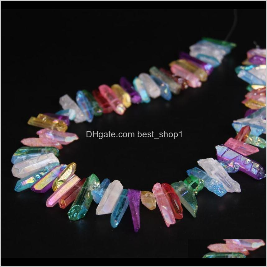 Bead Tools Arts Crafts Gifts Home Garden 15Dot5Strand Top Drilled Mixtz Colour Quartz Point Beadsnatural Rough Crystal Stick Pendants