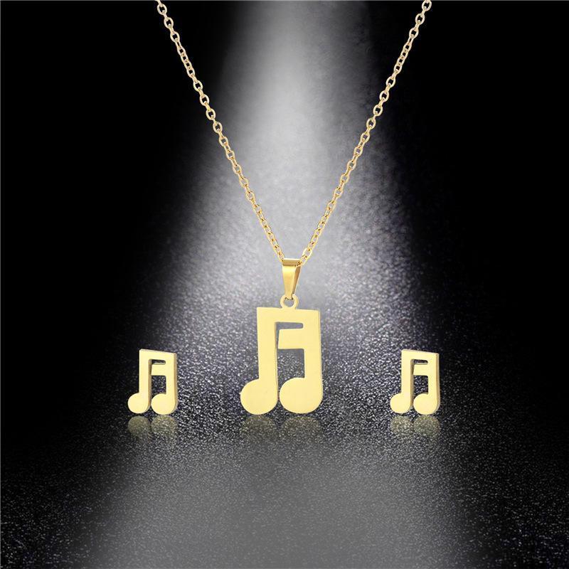 بسيط الفولاذ المقاوم للصدأ محظوظ رمز الموسيقية الحب القلب قلادة سلسلة قلادة هدية الزفاف أنت المرأة المجوهرات القلائد