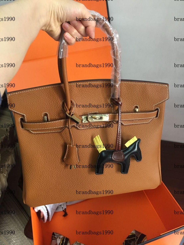 Sac de mode 35cm 30cm 25cm Femmes sacs à bandoulière avec serrure estampée Lady Cuir Sac à main en cuir véritable écharpe Charme de cheval