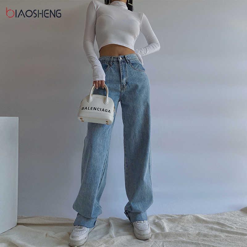 Frauen Hosen Jeans Frau Hohe Taille Breite Baggy Mutter Jeans Übergroße Weibliche Hosen Streetwear Frauen Hosen Gerade Bein Jeans Y0602