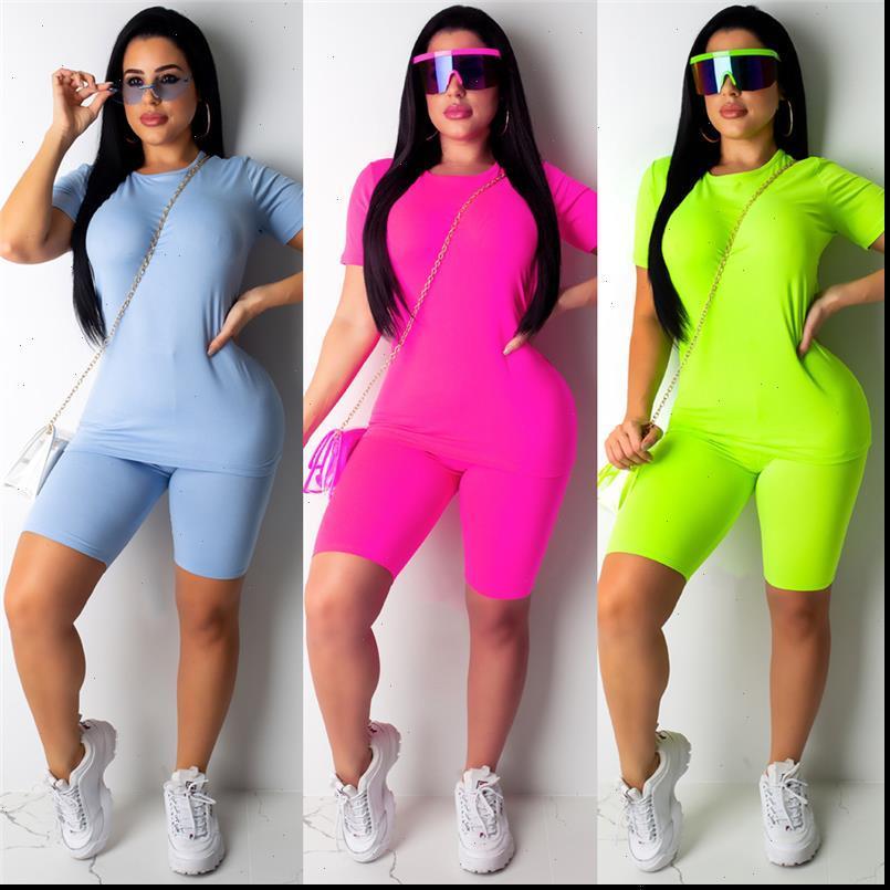 Sale Casual Two Women Tracksuits Piece Set Plain Solid Clothes Short Sleeves Top T shirt Suit