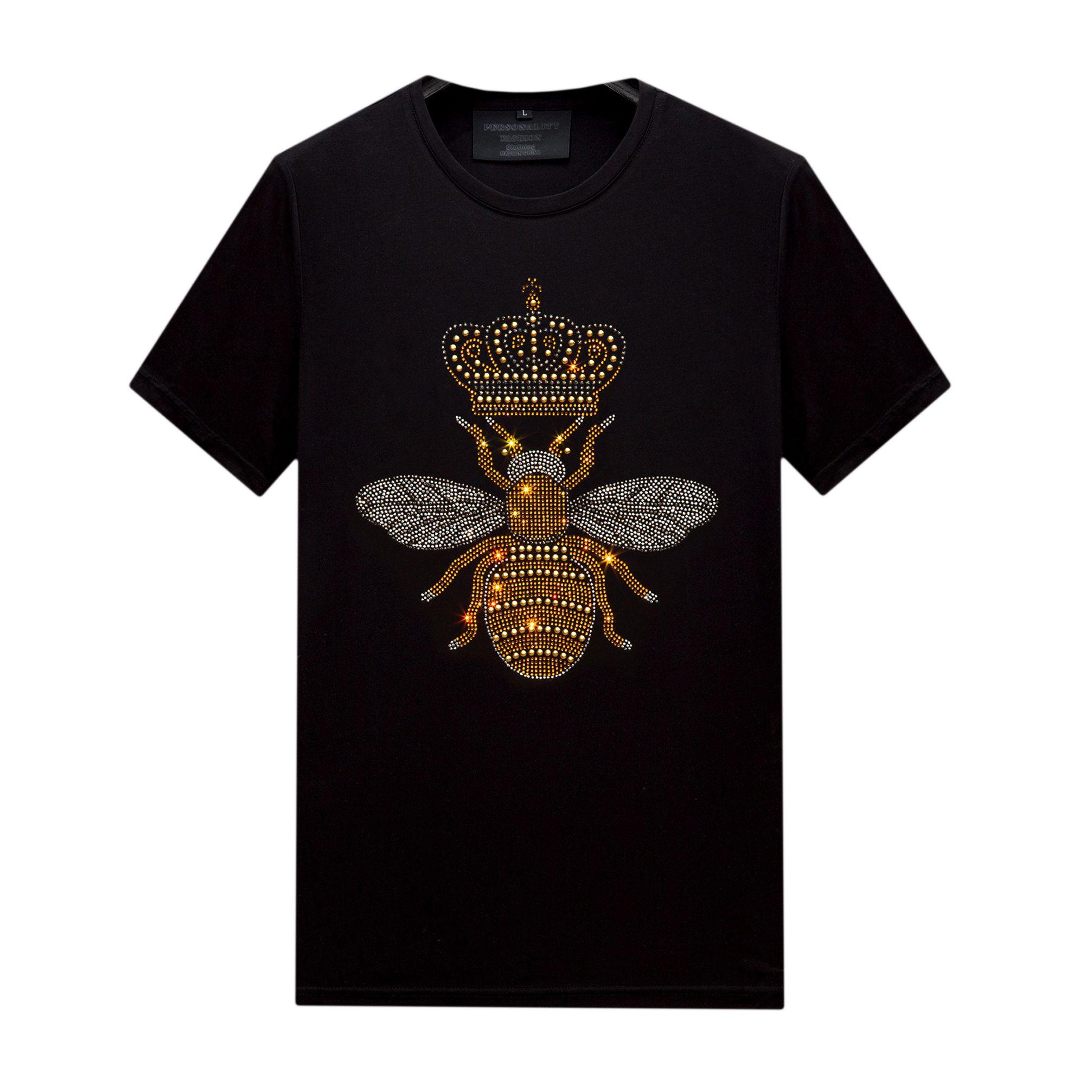 Yaz Kişiselleştirilmiş Erkek Tops Tasarımcı Rhinestone T-Shirt Kısa Kollu Ince Crewneck Casual Gömlek Tee Merserize Pamuk