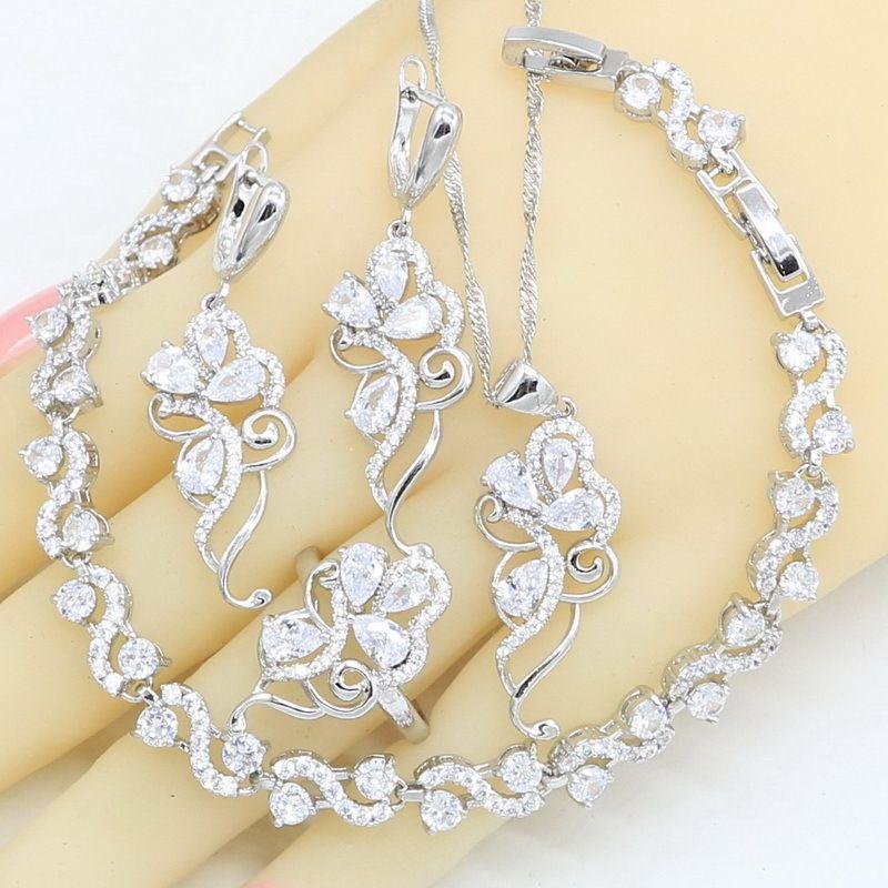 Kadınlar Için 925 Gümüş Takı Setleri Beyaz Topaz Bilezik Kolye Kolye Küpe Yüzük Doğum Günü Hediyesi