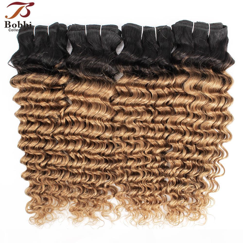 1B 27 أومبير شقراء موجة عميقة الشعر نسج حزم البرازيلي مجعد الشعر اثنين من لهجة 3 4 أجزاء 10-24 بوصة ريمي الإنسان ملحقات الشعر