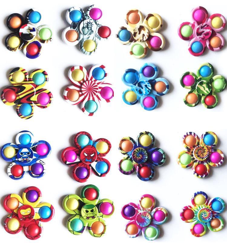FIDGET 장난감 감각 색상 타이 염료 인쇄 매화 5 손가락 자이로 푸시 안티 스트레스 교육 어린이 및 성인 압축 해제 장난감 놀람 도매