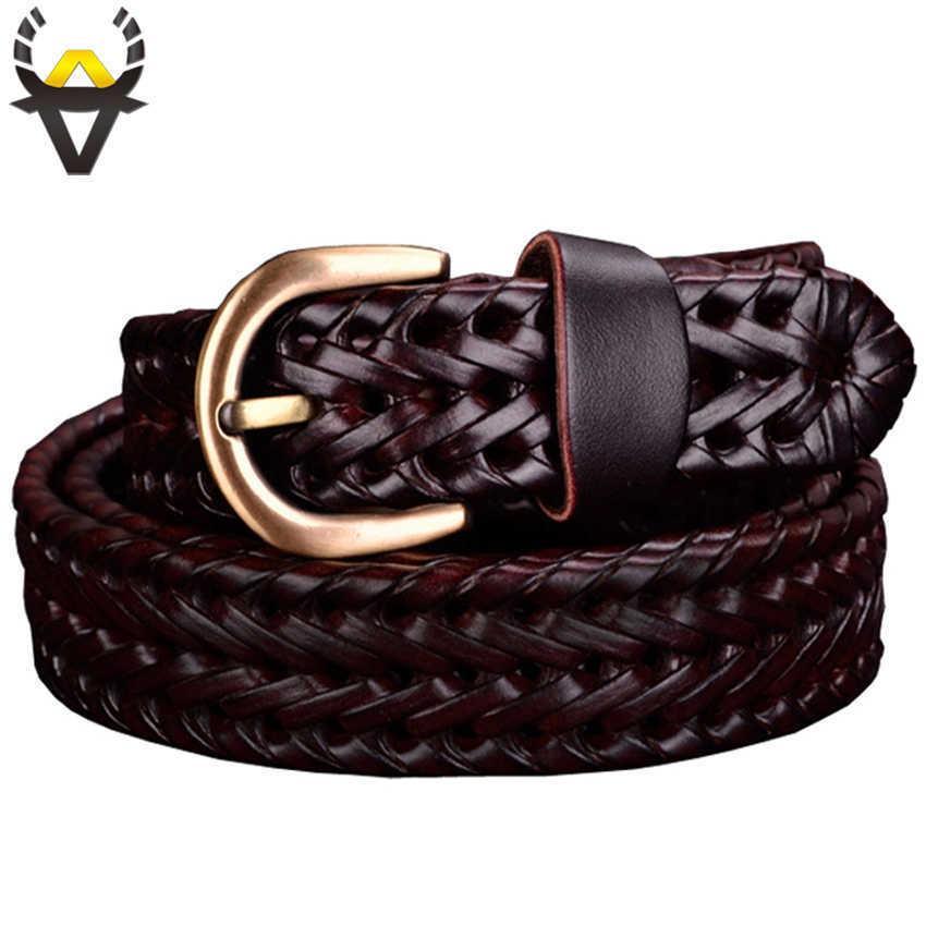 جلد طبيعي حزام المرأة أحزمة مضفر للنساء جودة عالية الطبقة الثانية طبقة جلد البقر حزام الإناث للجينز عرض 2.5 سم القهوة 210630