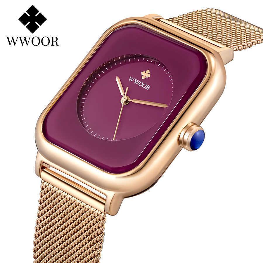 WWOOR stilvolle lila Damen Armband Uhren Frauen Stahl Mesh Quadrat Quarz Armbanduhr Weibliche Wasserdichte Uhr Geschenk Reloj Mujer 210603