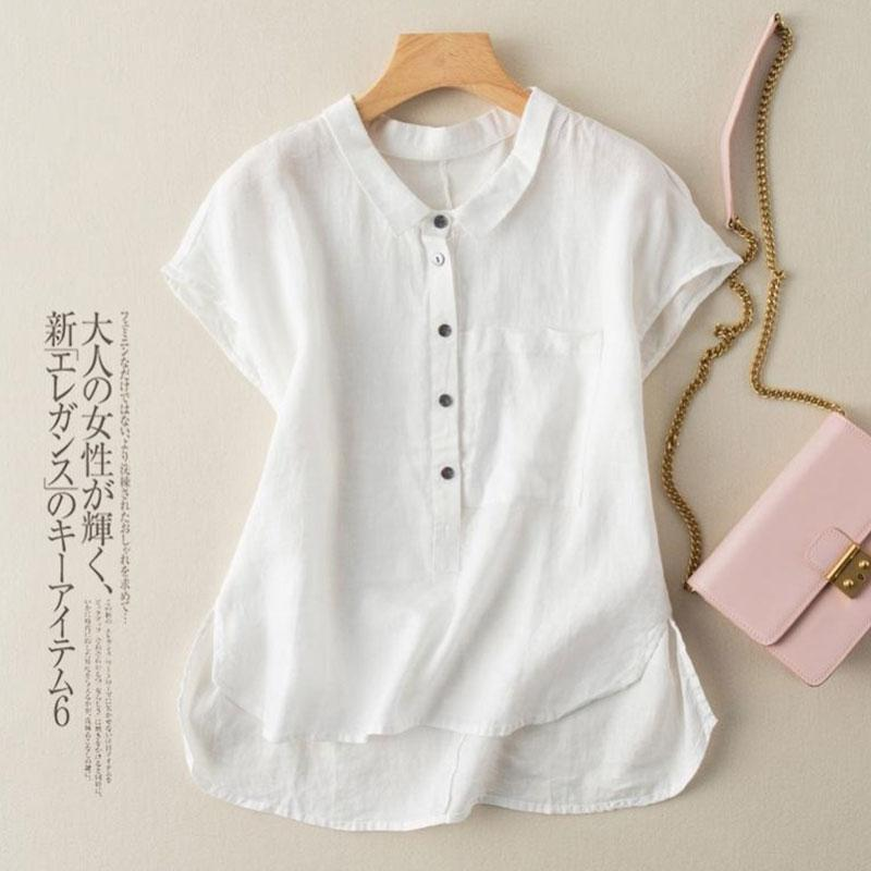 Baumwolle und Leinen Casual Shirt Damenmode Sommer 2021 Koreanische Stildesign Kurze Vorderseite Langer Schlitz lose Bluse Blusen Hemden