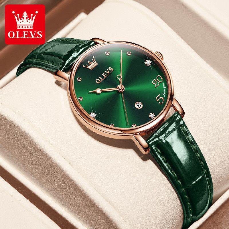 Olevs 브랜드 럭셔리 시계 레이디의 손목 시계 여성 손목 시계 30m 방수 쿼츠 relogio 아랍어 숫자 520 아날로그 시계 정품 가죽 날짜
