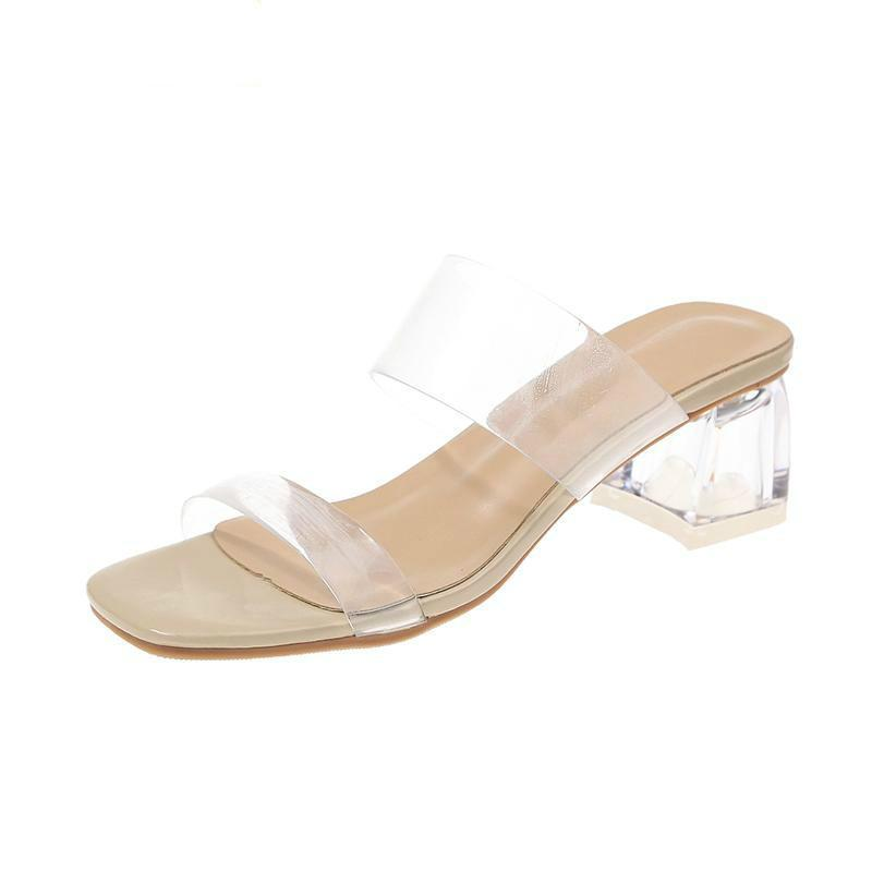 Temizle topuklu terlik kadın sandalet yaz ayakkabı kadın şeffaf yüksek pompalar düğün jöle seksi kare elbise