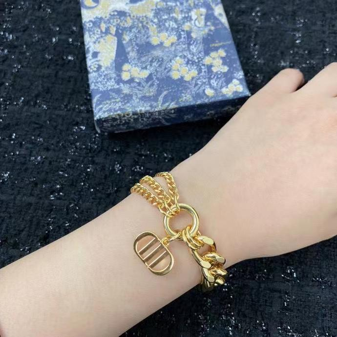 2021 Fashion stainless steel letter Link chain 18k gold bracelet for mens and women lovers gift With BOX