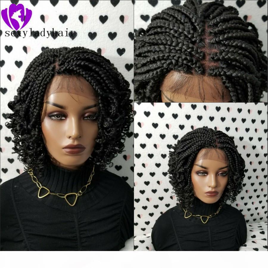 Perruques Boîte de tresses Traité complètes de 200densité Perruques de tresses pour femmes noires Perruque de tresse de dentelle de dentelle Curly 14inch noir brun avec des cheveux corporels