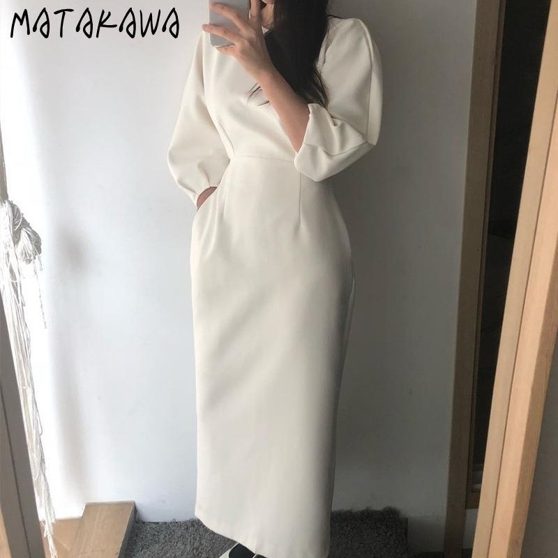 Matakawa Long Feuillure Sleeve Taille Robe Femme Femme Femme Robe Femmes Tempéramament Français Automne Hiver Robes Bormon Sleetin 210513