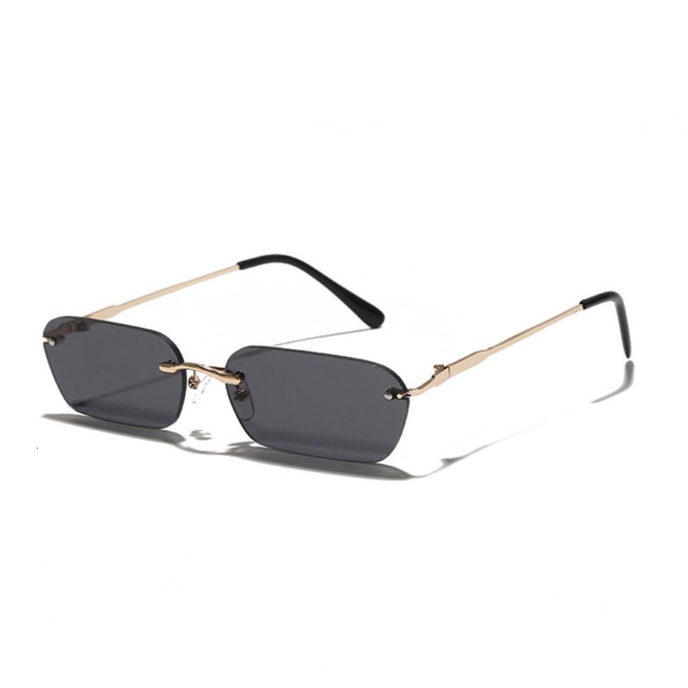 Moda Rimls Sunglass Mulheres 2021Tendy Pequeno Retângulo Homens de Sol Verão Verão Viajar Estilo UV400 Gold Brown Shad