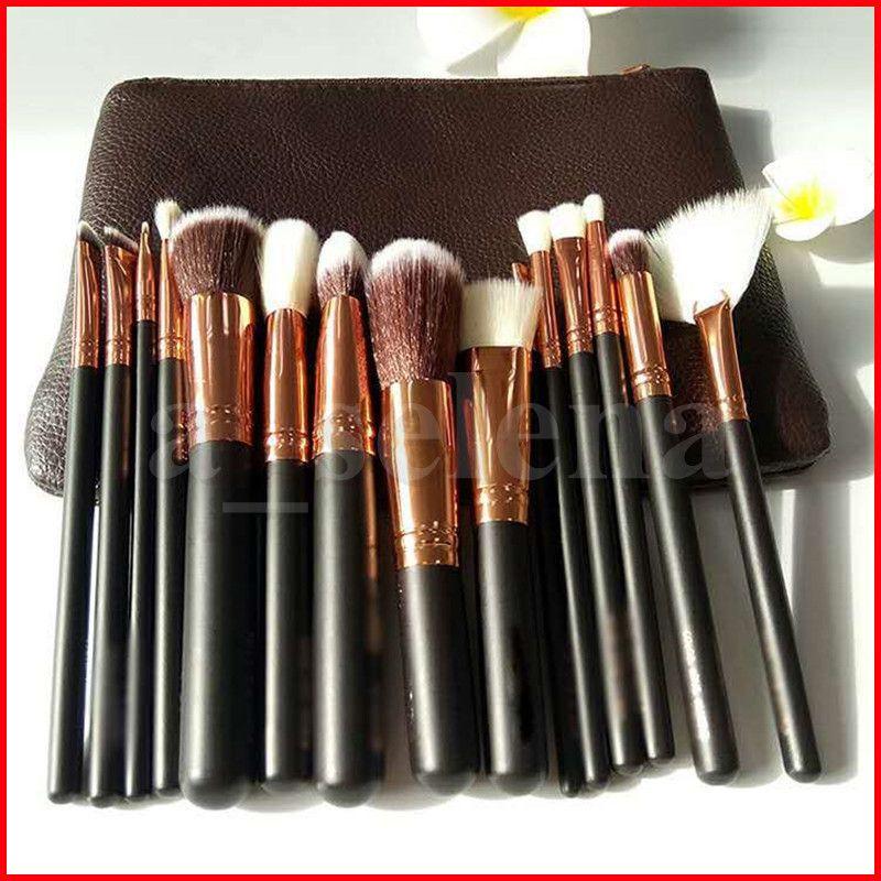 Pennello per il trucco 15pcs / Set Brush con Borsa PU Spazzola professionale per la polvere Foundation Blush Eyeshadow Black Brown Pink Alta qualità