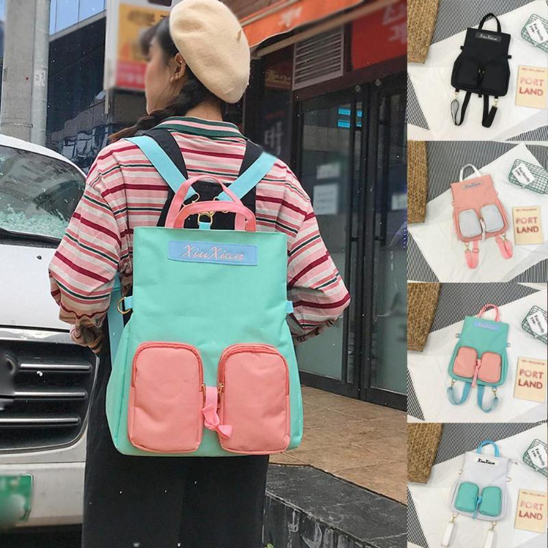 Mochila moda lady bolsa grande capacidad multiusos viajes nylon casual color sólido dibujos animados dropship t723