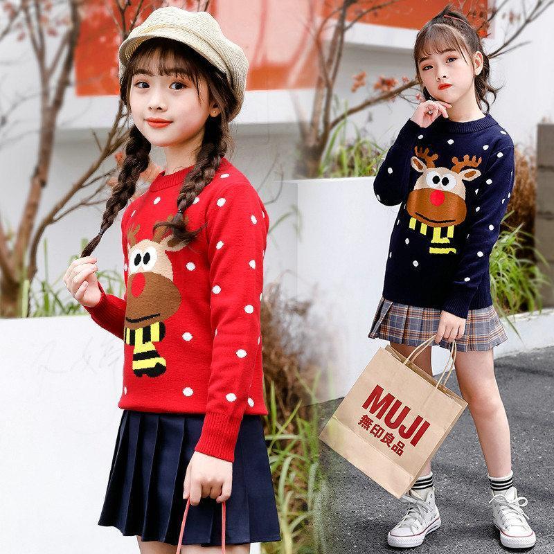 Pullover mit Hirsch für Mädchen Hohe Mode Winter Cartoon Baby Mädchen Weihnachten Kinder Pullover Strick Kleidung Kinder