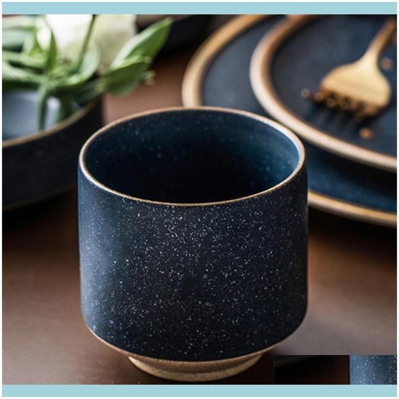 Kitchen, Dining Bar Home Gardeneuropean Style Ceramic Coffee Cup Porcelain Green Glaze Office Teacup Creative Simple Breakfast Water Mug Dri