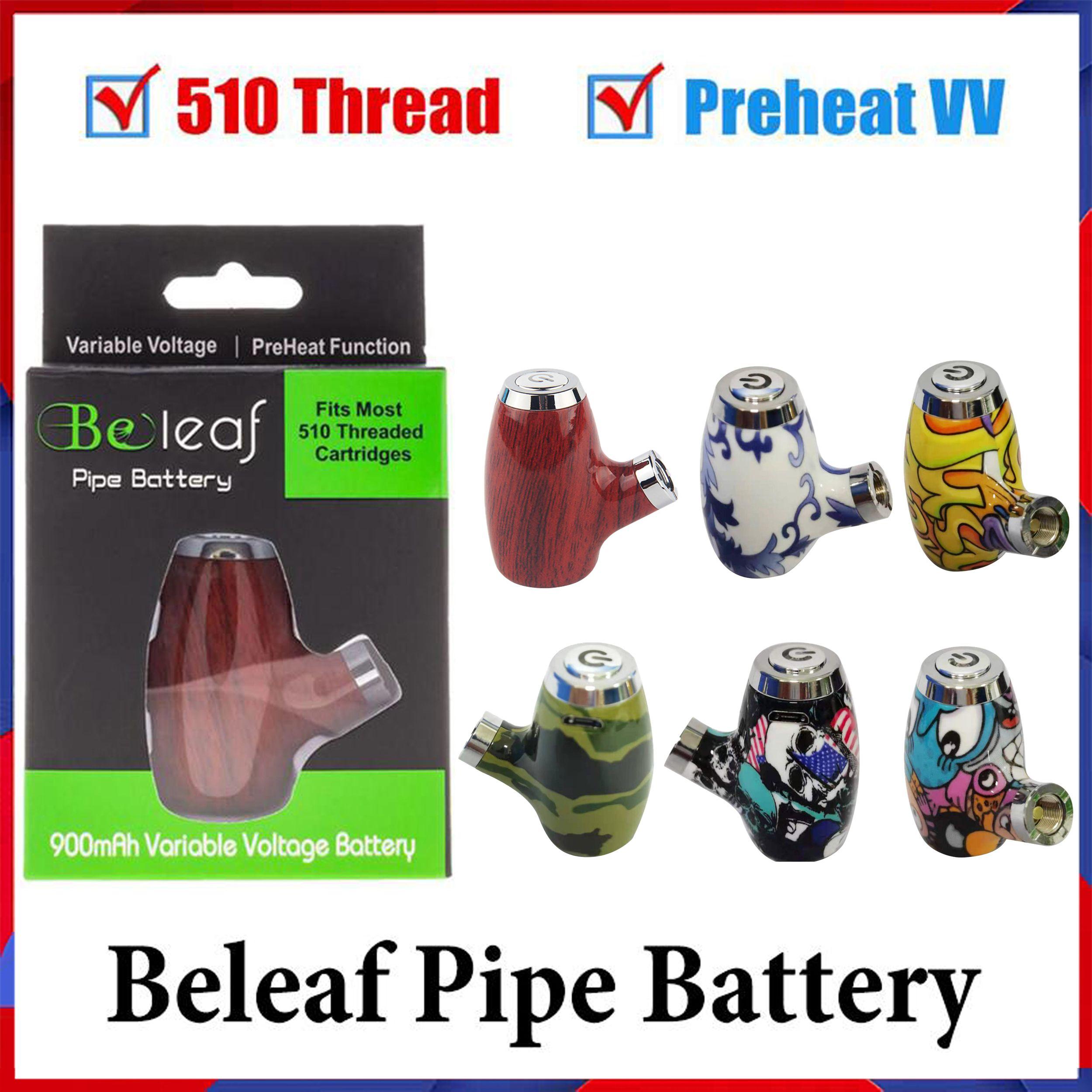 100% Originalüre Pipe Batterie Kit 6 Farben Holz Design Vape Pen Zigarette 510 Gewinde 900mAh Wiederaufladbare Vorheizvariable Spannung