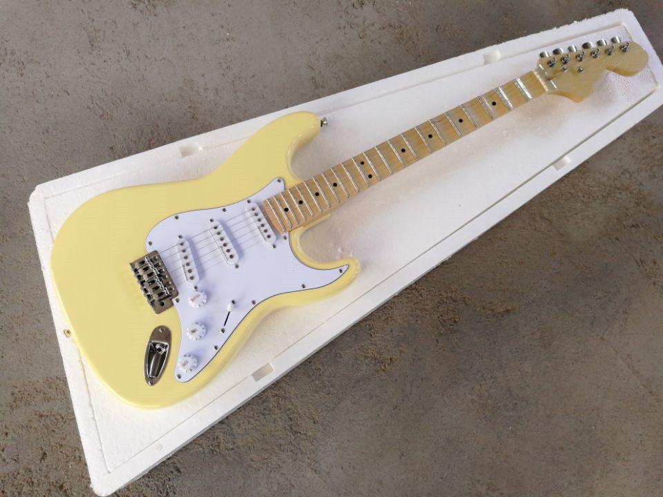 Fabrika özel sarı vücut elektro gitar taraklı klavye, beyaz pickguard, krom donanım, özelleştirilmiş hizmetler sağlamak
