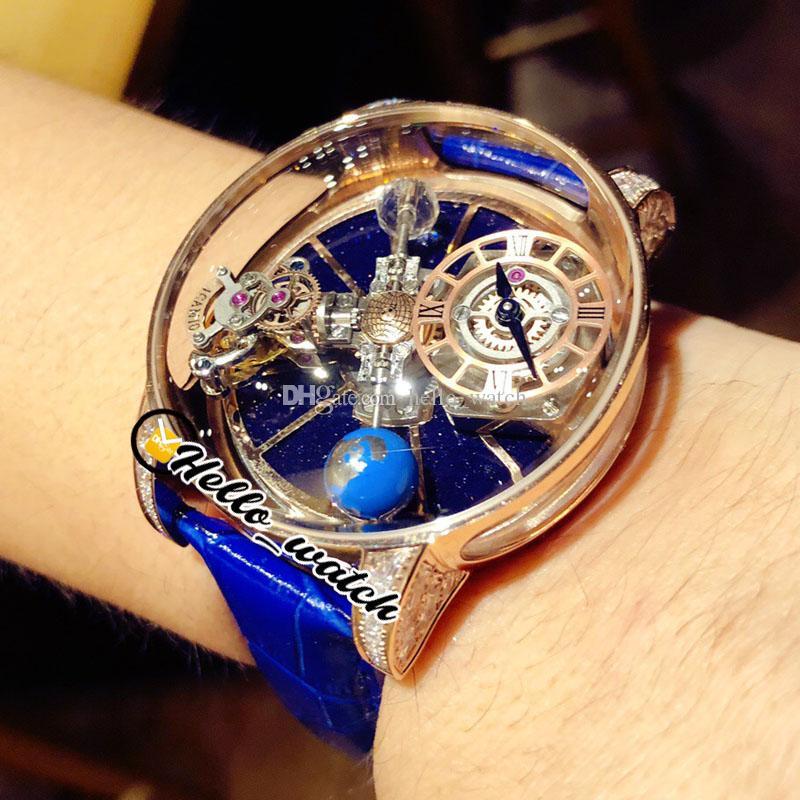 2021 TWF Rotating Dial Relógios CR7 Epic X Chrono Decoração Astronômica Tourbillon Skeleton Swiss Quartz Mens Assista Rose Gold Diamond Case Blue Strap Hello_Watch