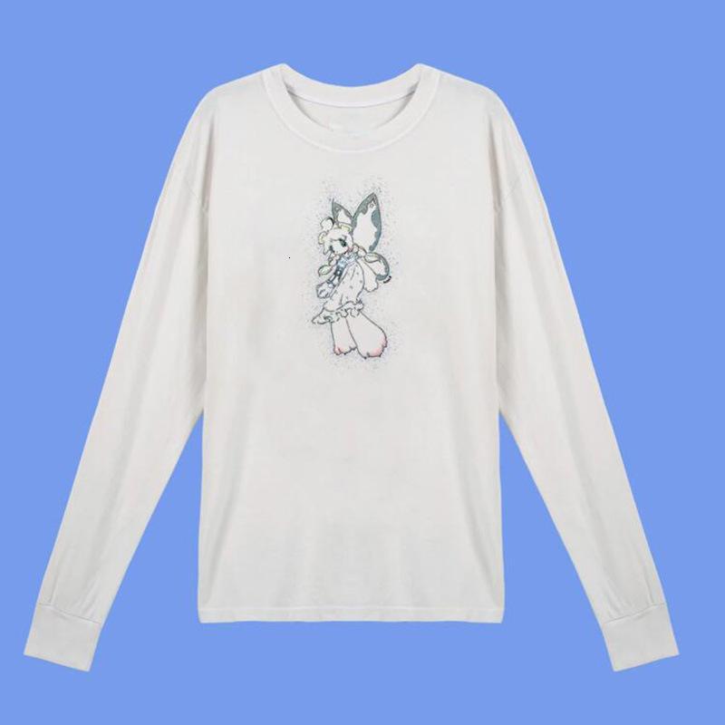 Schmetterlings-Angel-Sparkle-Drucken Lose Baumwolle Harajuku Kurzarm Weißes Langarm-T-Shirt