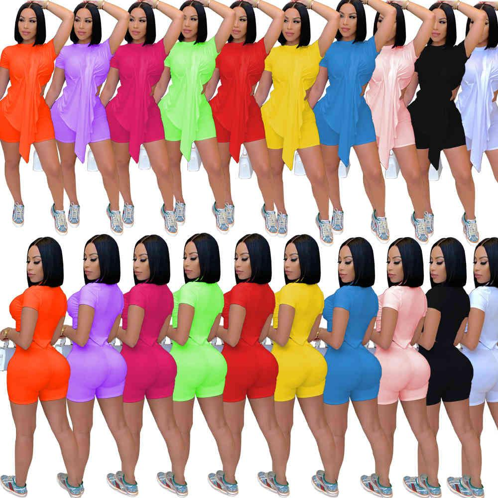 2021 Summer New women's round neck Fashion straight sexy women's solid color personality Two Piece sets nightclub Short sleeve shorts Suit