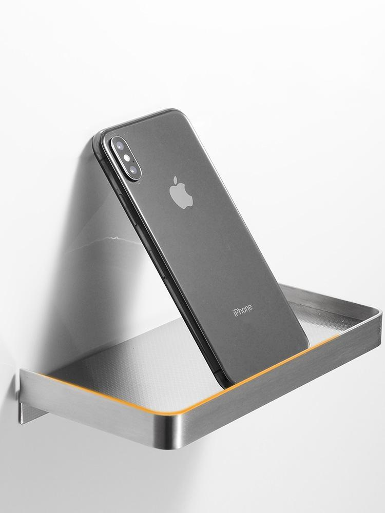Wall Mounted Stainless Steel Bathroom Toilet Phone Holder Shelf Mirror Polished And Anti-Slip Style Brushed/Black/Gold Color Paper Holders