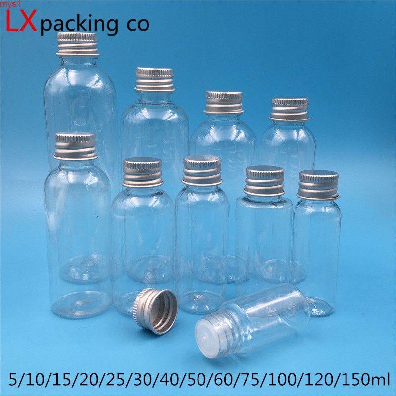 50 unids 5 ml 10ml 25ml 30ml 60 ml 100 ml 150 ml vacío de plástico transparente embalaje de aceite botellas de perfume contenedores cosméticos altos qty