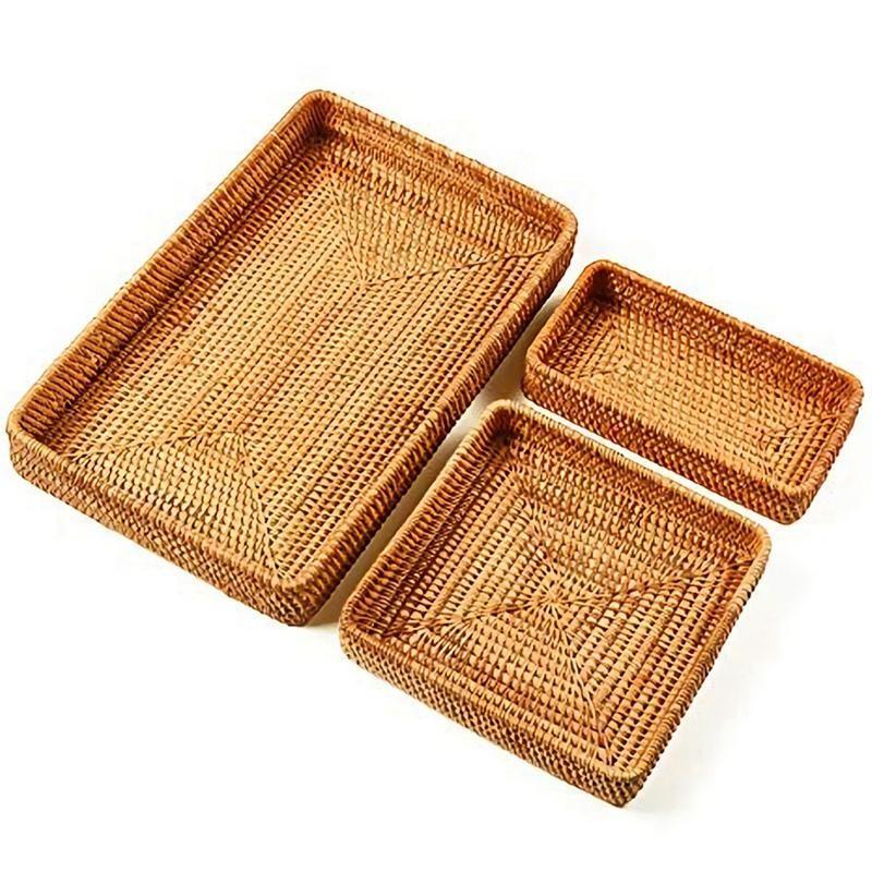 Conjunto de 3 retângulo de rattan feitos a mão servindo bandeja organizador de vime mesa de armazenamento de bandeja de frutas