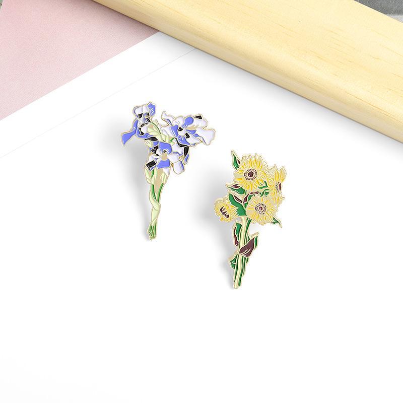 الفنية الرومانسية الزهور المينا دبابيس الألوان أنيقة جميلة القزحية عباد الشمس دبابيس مجوهرات للملابس أكياس هدية حزب الأصدقاء 1352 Q2