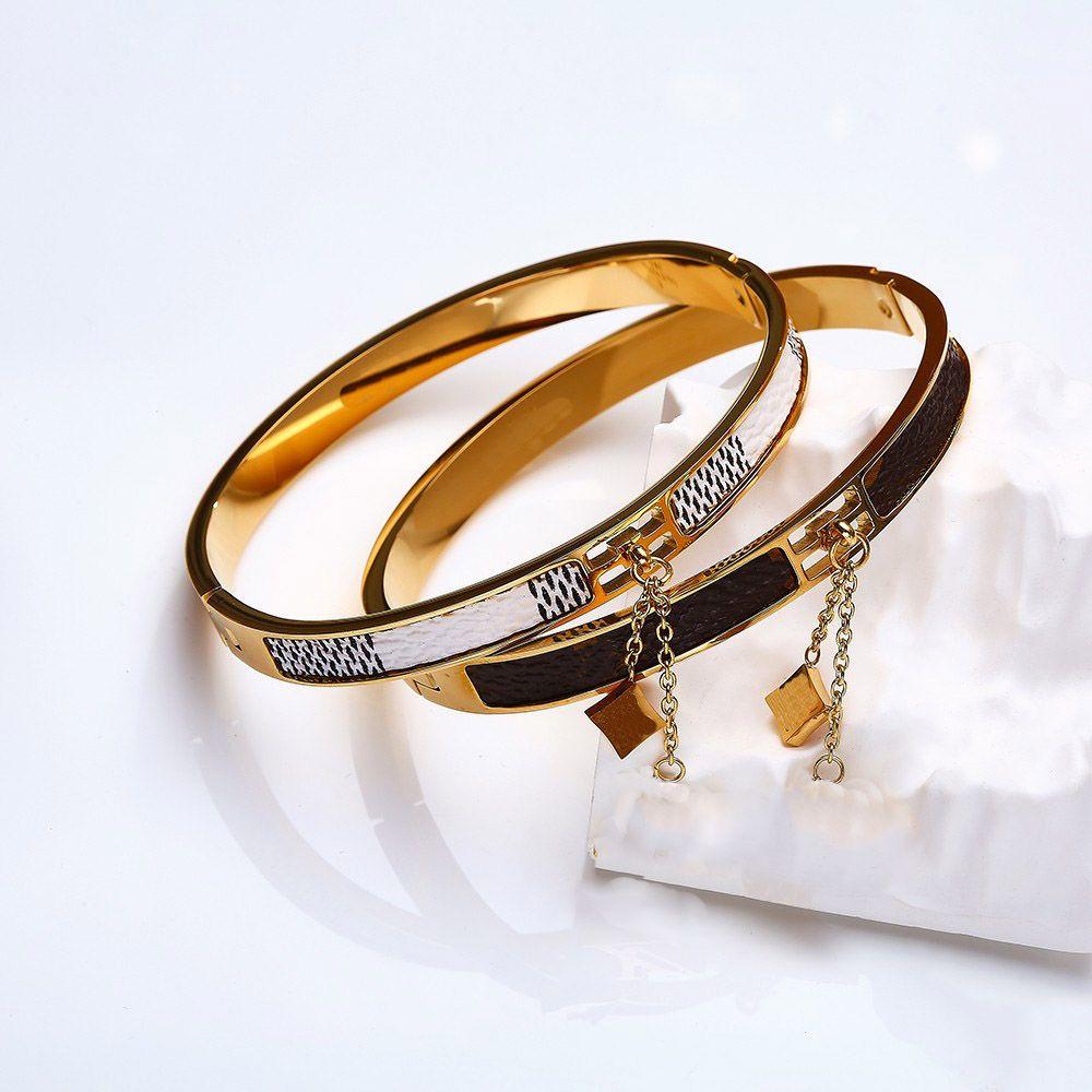 Дизайнер Любовь Браслет Ювелирные Изделия Титановый Сталь Золотой Браслет Роскошные Простые женские Подвески Браслеты с Канальной коробкой