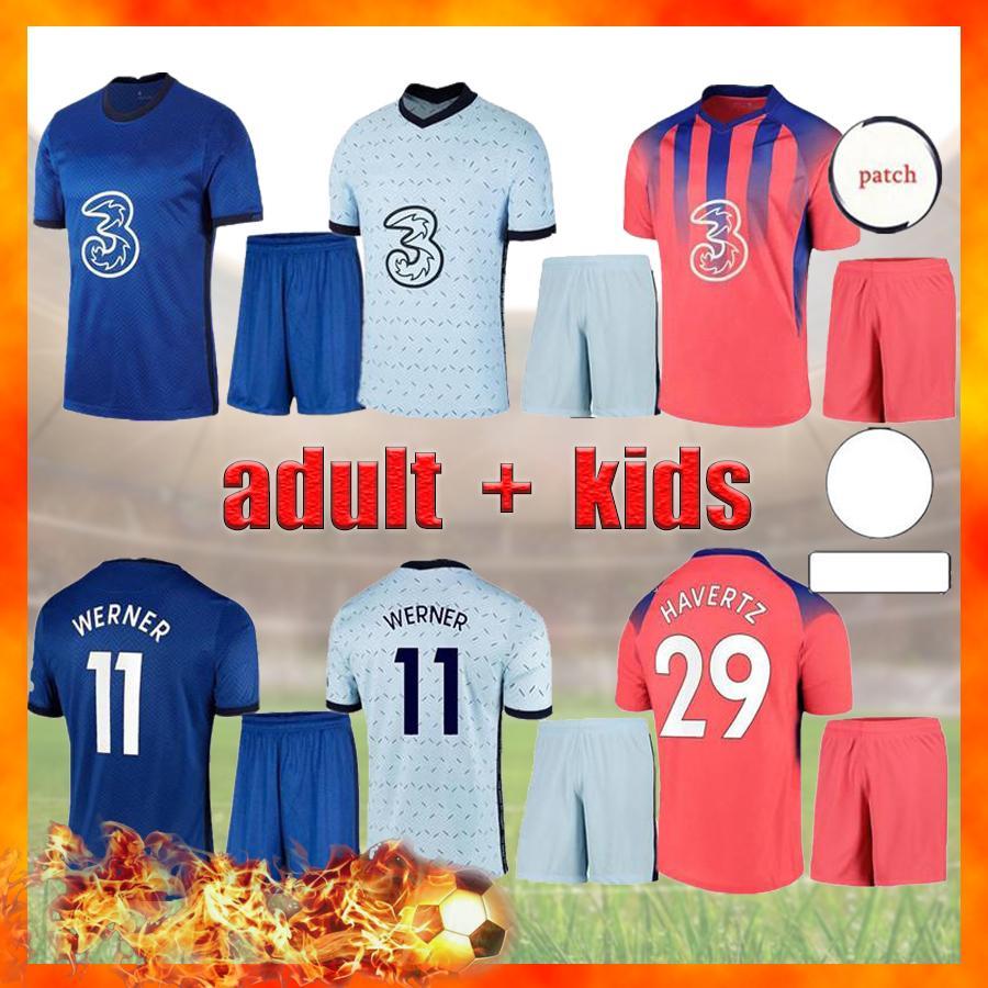 Pulisic Ziyech Havertz Kante Men + Kids Kit Fußball Jersey Werner Abraham Chilwell Mount Jorginho 2021 2022 Giroud Football 20 21 22 Hemd Dreijähriges