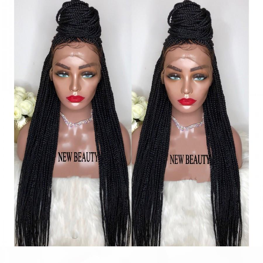 Fully Hand Braided Lace Frontal wig with baby hair black brown blonde ombre color Box Braids Braid Wig for black women