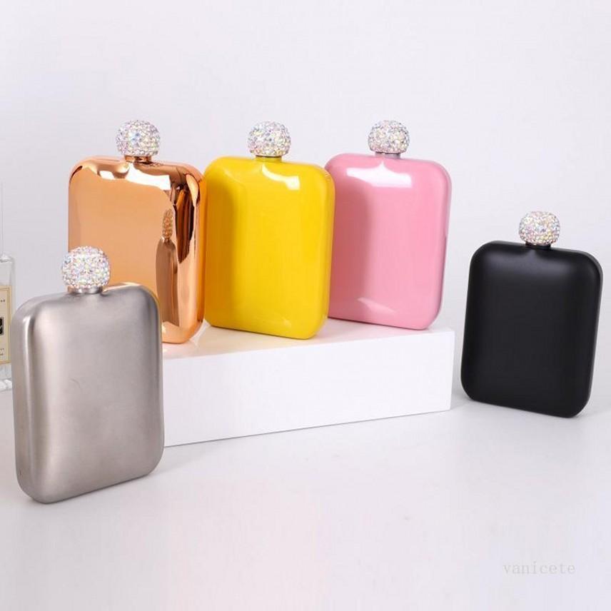 Edelstahl-Hüftflasche mit Diamant-Deckel Damen-Damen-tragbare quadratische Quadrat-Hüftflasche Mini-Taschenkolben 5 Farben