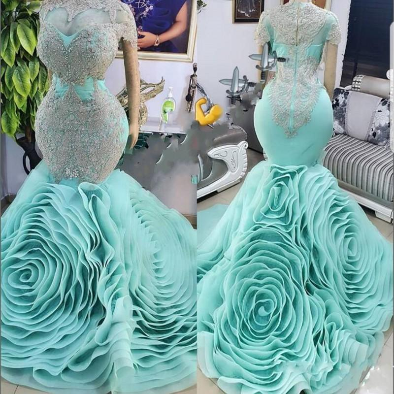 2021 Nouveaux robes de soirée de sirène avec des volants Vestido de novia dentelle de dentelle de robe de bal t-t-à-tête PLUS Taille Robe de Soirée
