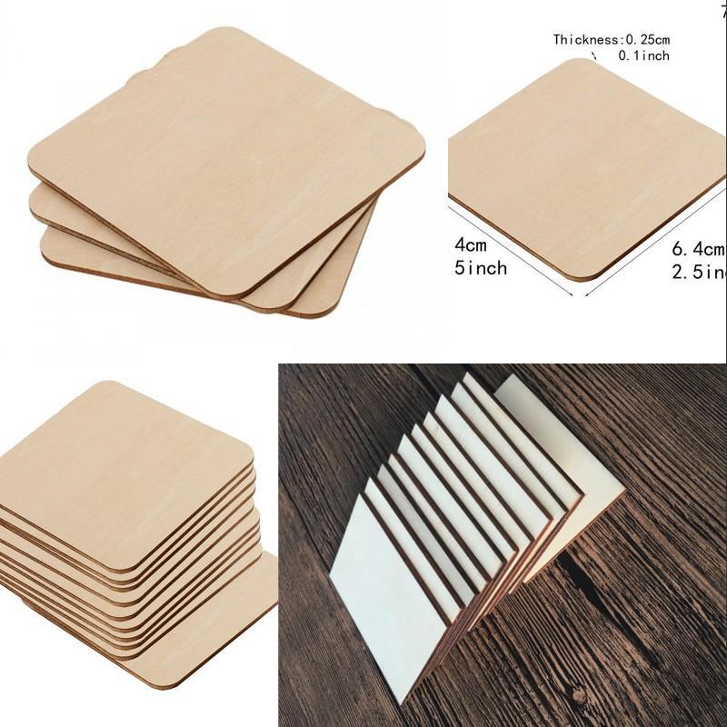 Quadratisches Rechteck Unfinished Holzausschnitt Kreise Leeres Holzscheiben Stücke für DIY Malerei Kunst Handwerksprojekt Wir BBYZBK XMH_HOME 545 R2
