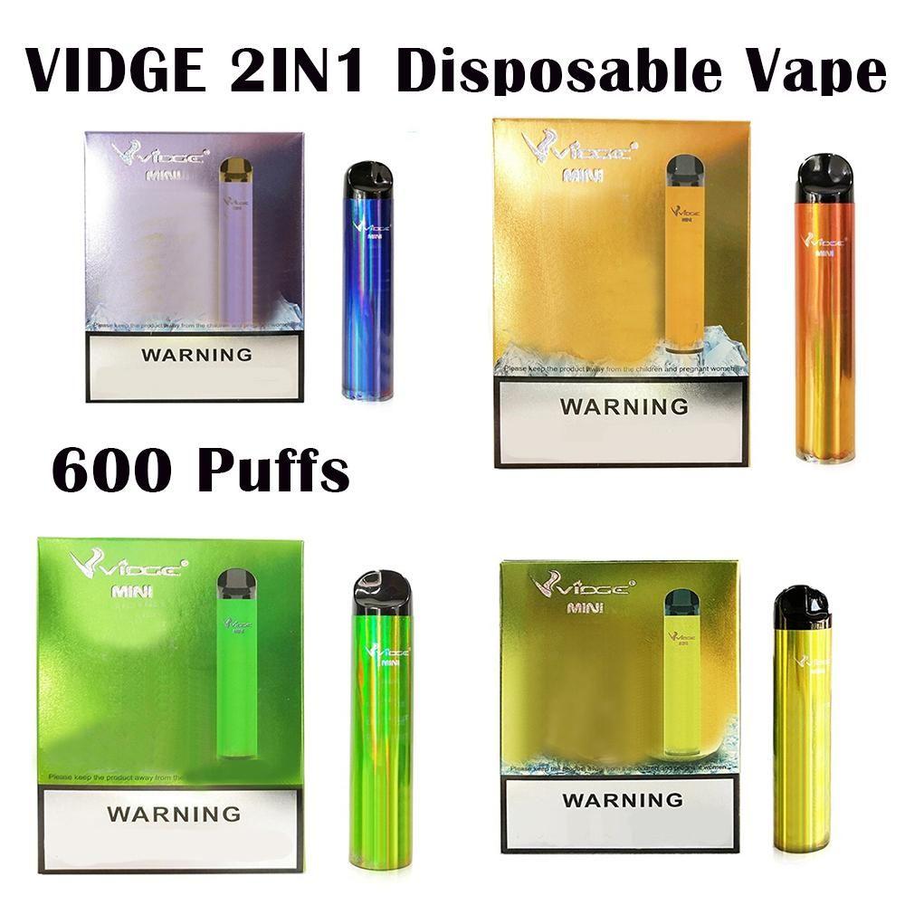 Vidge Mini 2 1 Çift Diposable E Sigara Cihazı 300 + 300 Puffs 400 mAh Pil Predded Pod Kartuş Vape Kalem Kiti VS Bar Artı Flex