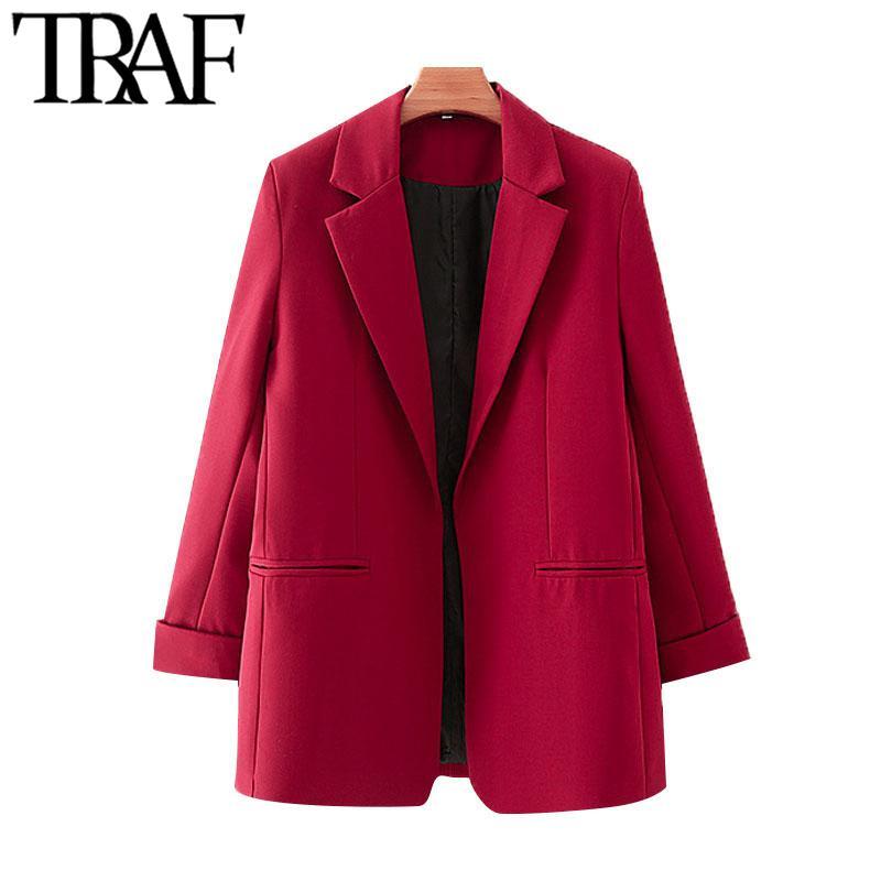 TRAF Damen Mode Büro Tragen Rot Blazer Mantel Vintage Langarm Taschen Weibliche Oberbekleidung Chic Tops 210415