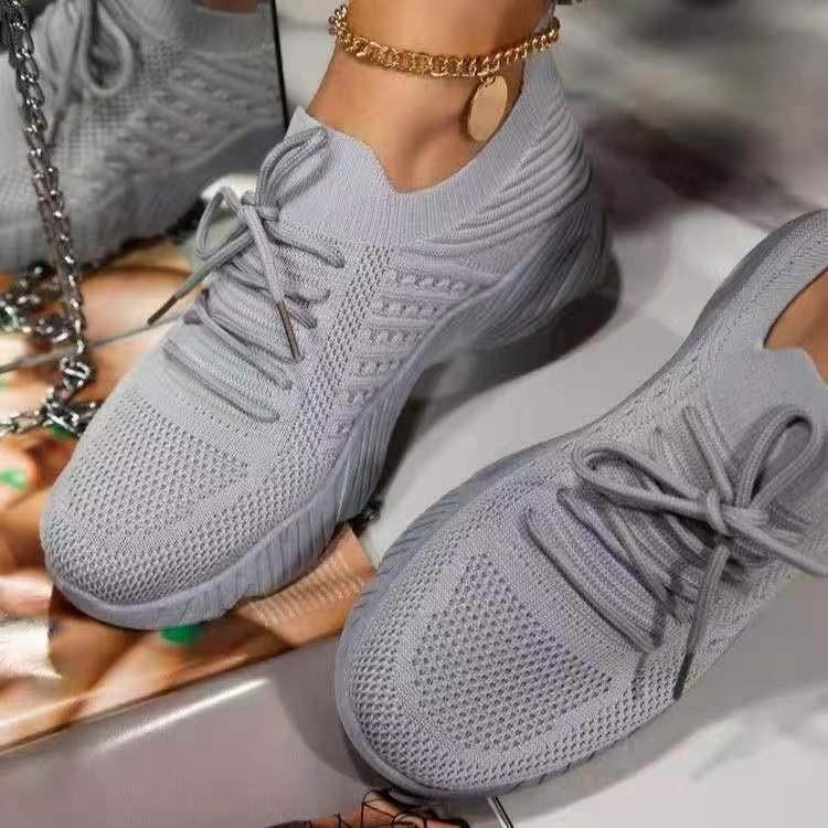 2021 Malha Conforto Verão Sapatos Mulheres Leve Levante Sólido Lace Up Sneakers Malha Grosso Soled Outdoor Sneaker Sapatos Cinzentos Preto