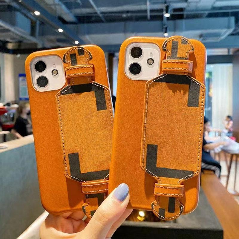 F 패션 디자이너 전화 케이스 iPhone 12 12pro 최대 11 11Pro XS XR XSMAX 7/8 최고 품질의 가죽 손목 덮개 홀더 핸드폰 커버